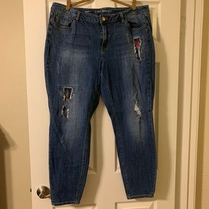 Lane Bryant skinny jeans with flannel patches.